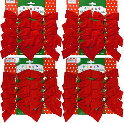 8 16 or 32 small 4x5 red christmas bows with metal - Red Christmas Bows