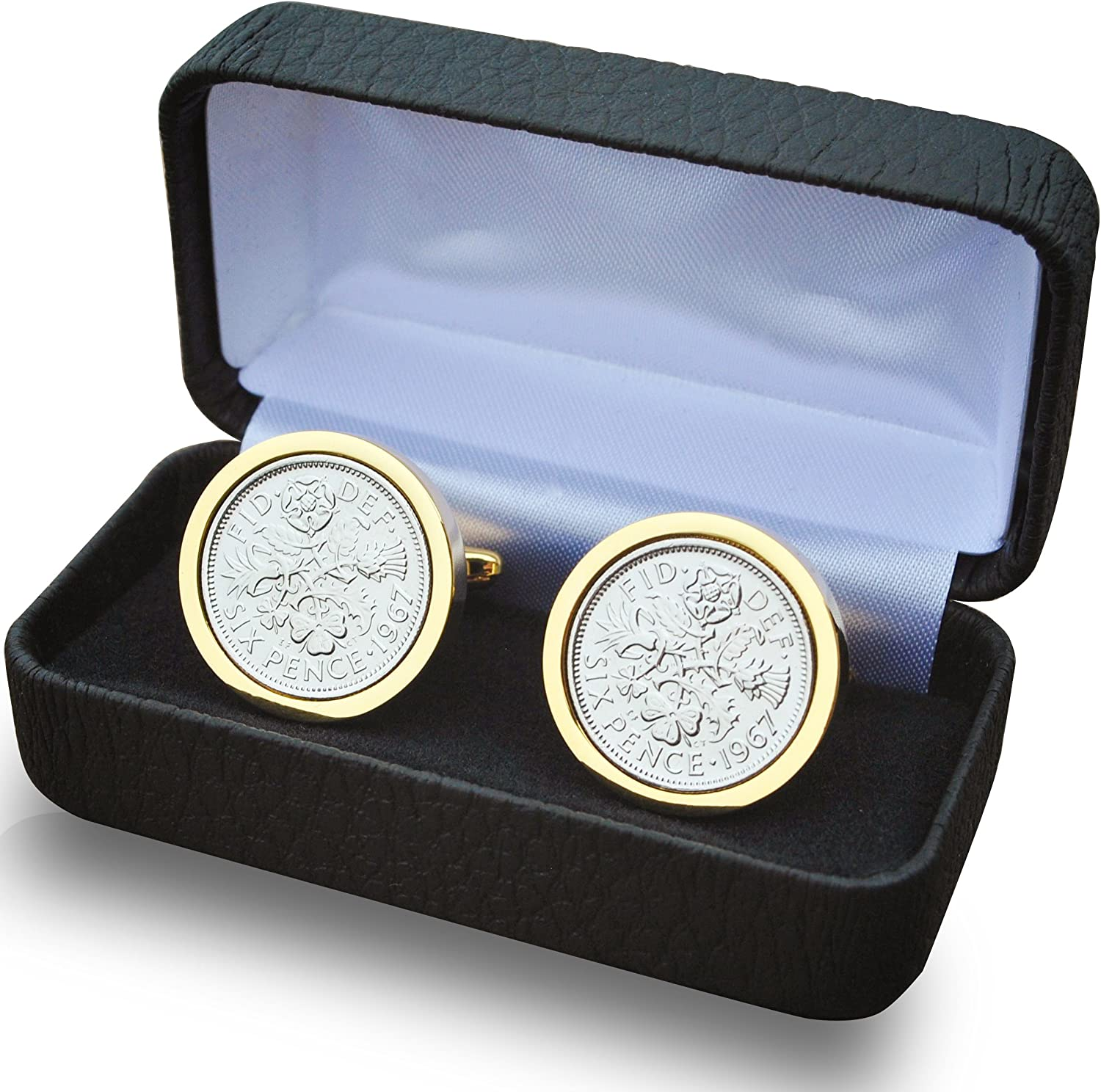 Genuine Polished 1947 Gold Sixpence Coin Cufflinks Vintage Gift Boxed 72nd Birthday Anniversary Present