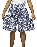 Ms Purple Girls' Cotton Pull-On Wide Leg Culottes X-Small Blue Linen