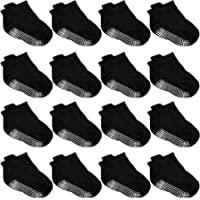 Duufin 16 Pairs Non Skid Grip Socks Toddler Ankle Socks for Toddler Boys Girls