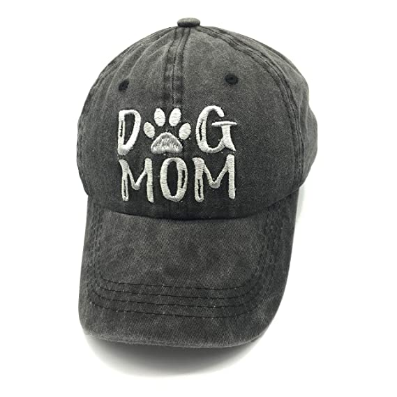 eb79a4a8559971 Waldeal Embroidered Dog Mom Paw Vintage Washed Distressed Dad Hats Funny  Black