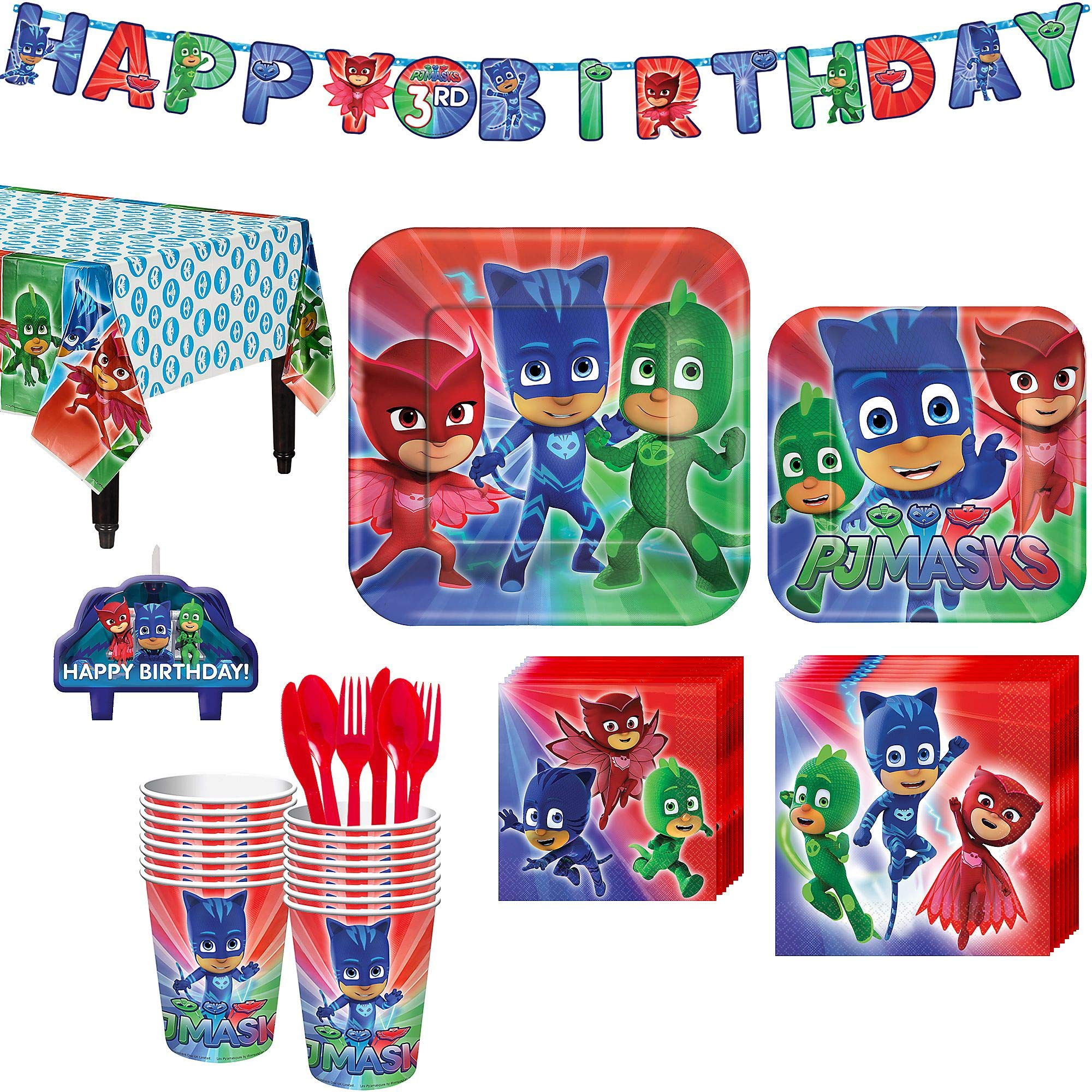 PJ Masks Birthday Party Kit, Includes Happy Birthday Banner and Birthday Candles, Serves 16, by Party City by Party City (Image #1)