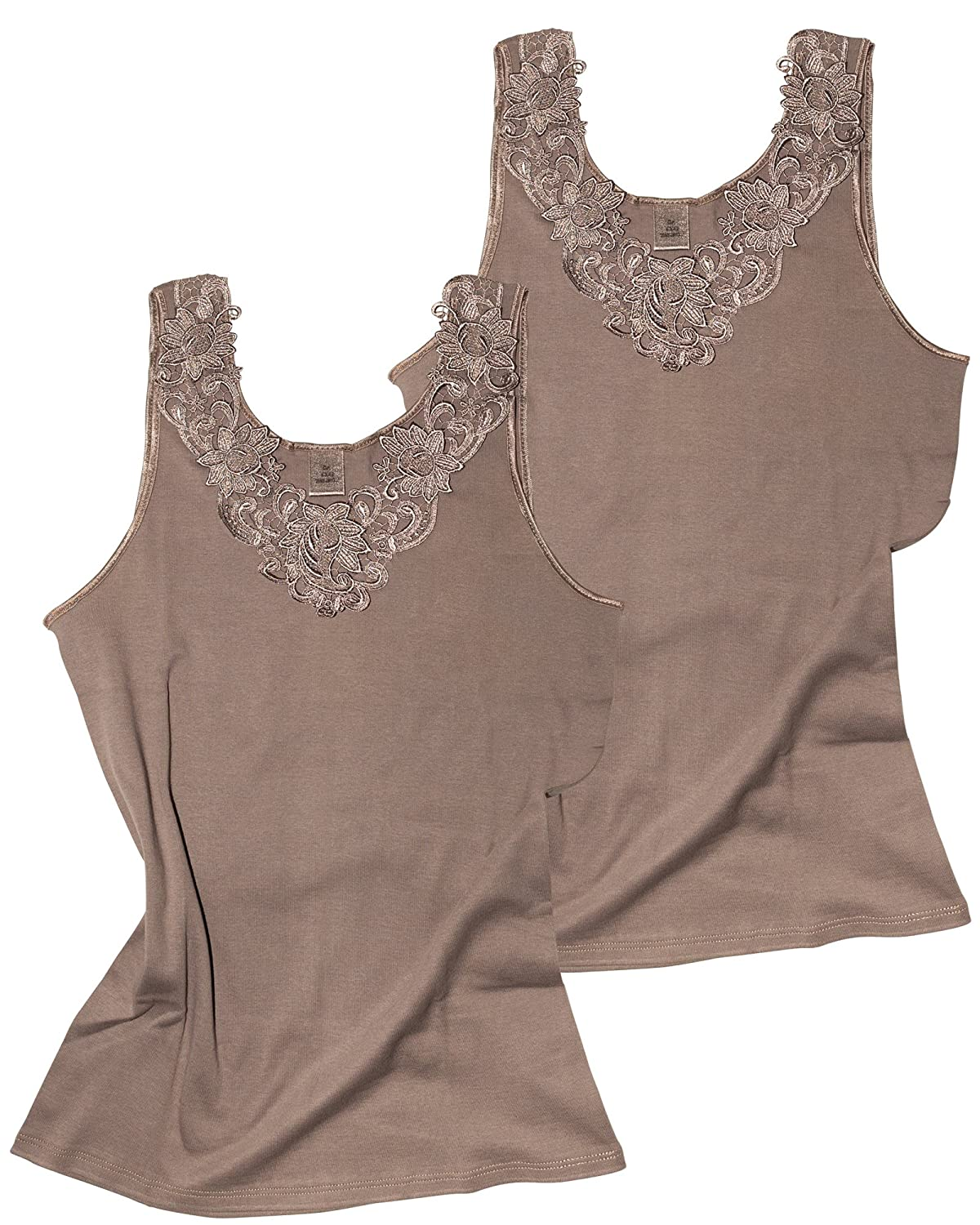 Yenita Womens Cotton Camisole Undershirt with Lace 100/% Cotton Tank Top Pack of 2
