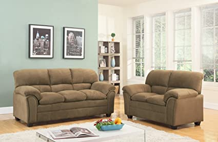 GTU Furniture Tan/Hazel Chenille Sofa U0026 Love Seat Set, 2Pc Living Room Set