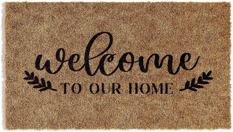 Barnyard Designs 'Welcome to Our Home' Doormat, Indoor/Outdoor Non-Slip Rug, Front Door Welcome Mat for Outside Porch Entrance, Home Entryway Farmhouse Decor, 30