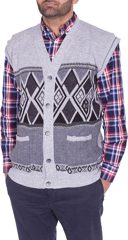 Mens Classic Long Sleeve Button Up Cardigan Argyle Diamond Aztec Print Top