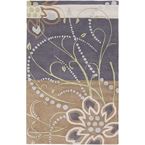 Surya Athena ATH-5128 Hand Tufted Wool Floral and Paisley Area Rug, 6-Feet by 9-Feet