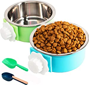 2 Pack Crate Dog Bowl, Removable Stainless Steel Kennel Water Bowl Hanging Pet Cage Bowl Food & Water Feeder Coop Cup with Food Spoon(Random Spoon) for Puppy Medium Dogs Birds Ferret Cat