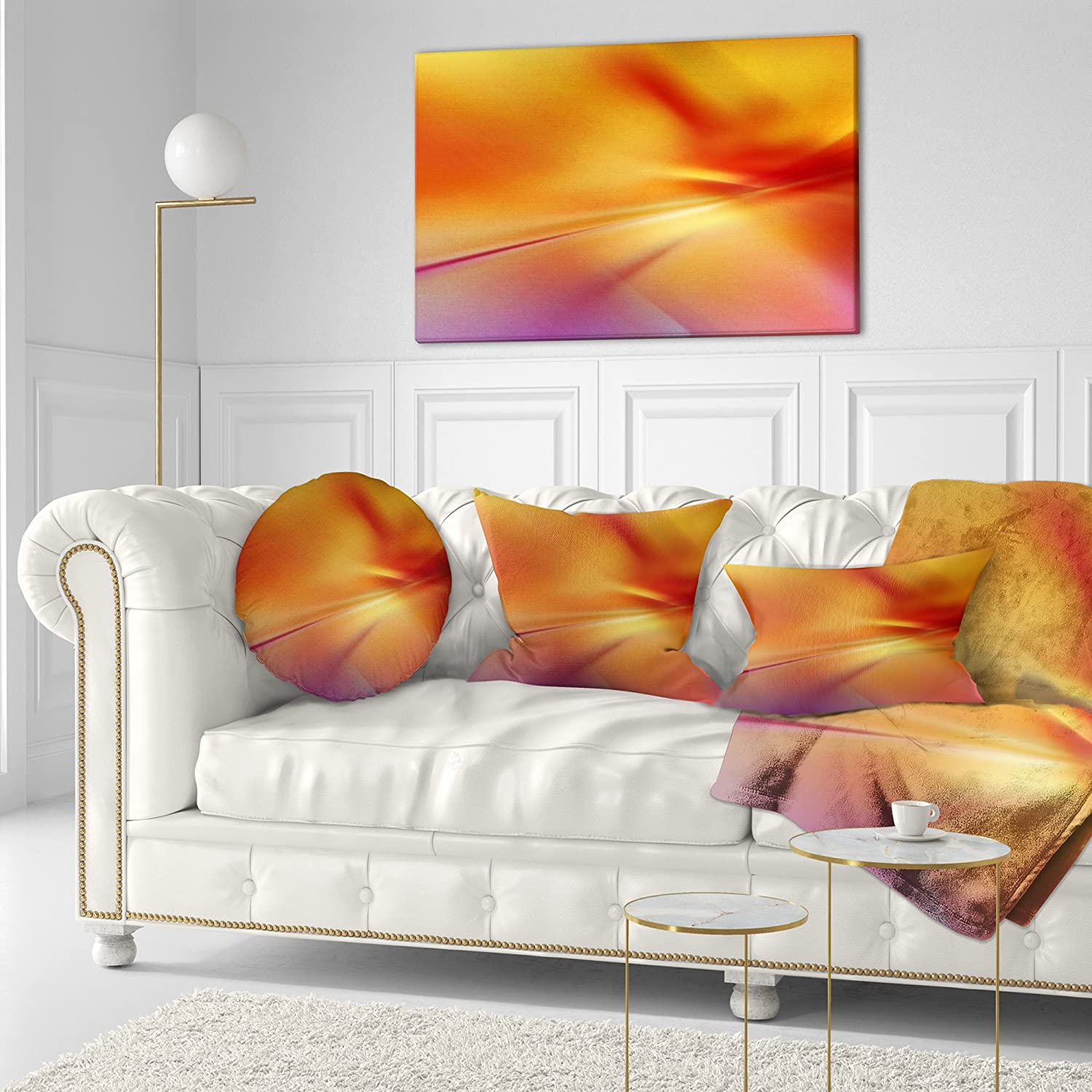 Insert Printed On Both Side x 20 in in Sofa Throw Pillow 12 in Designart CU8154-12-20 Orange Red Art Abstract Lumbar Cushion Cover for Living Room