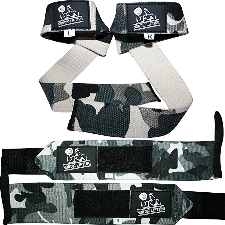Wrist Wraps + Lifting Straps Bundle (2 Pairs) for Weightlifting