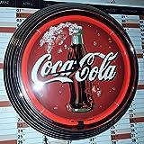 Neon clock della Coca Cola Sign Red Neon Rim, orologio da parete Neon Rosso reklame pubblicità 50's Style