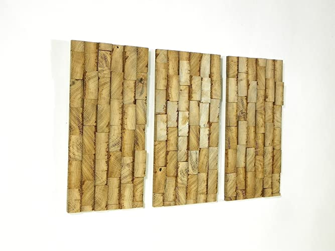 tableau triptyque abstrait en bois en relief dco murale en bois design moderne