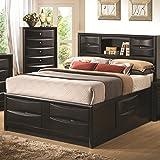 Briana Black Bookcase Eastern King Storage Bed