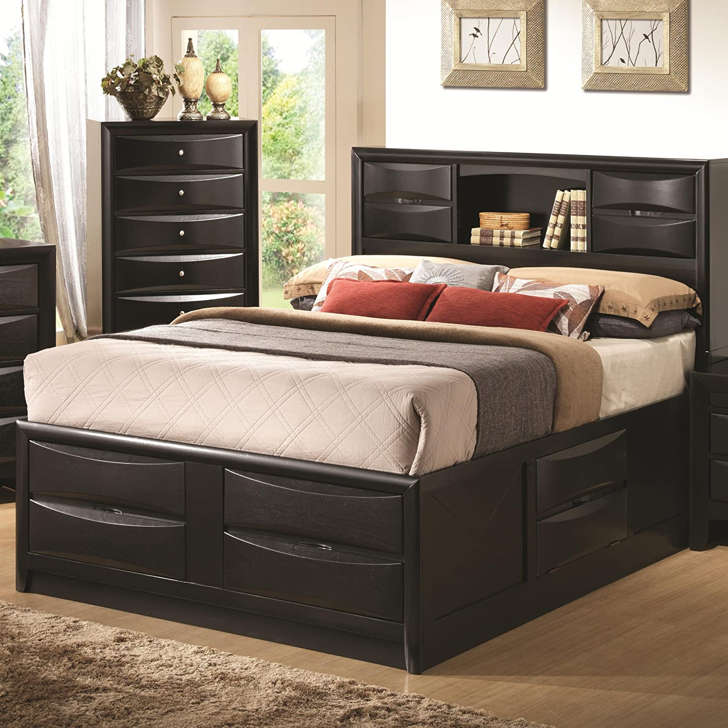 amazoncom briana black bookcase eastern king storage bed kitchen dining