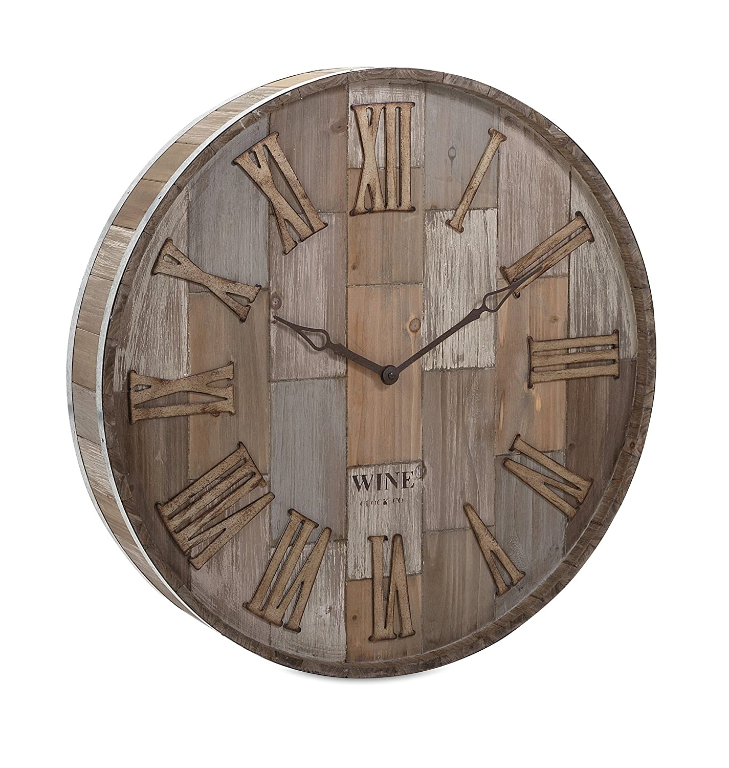 Amazon infinity instruments wine barrel 24 in wall clock imax 83457 wine barrel wood wall clock natural amipublicfo Gallery