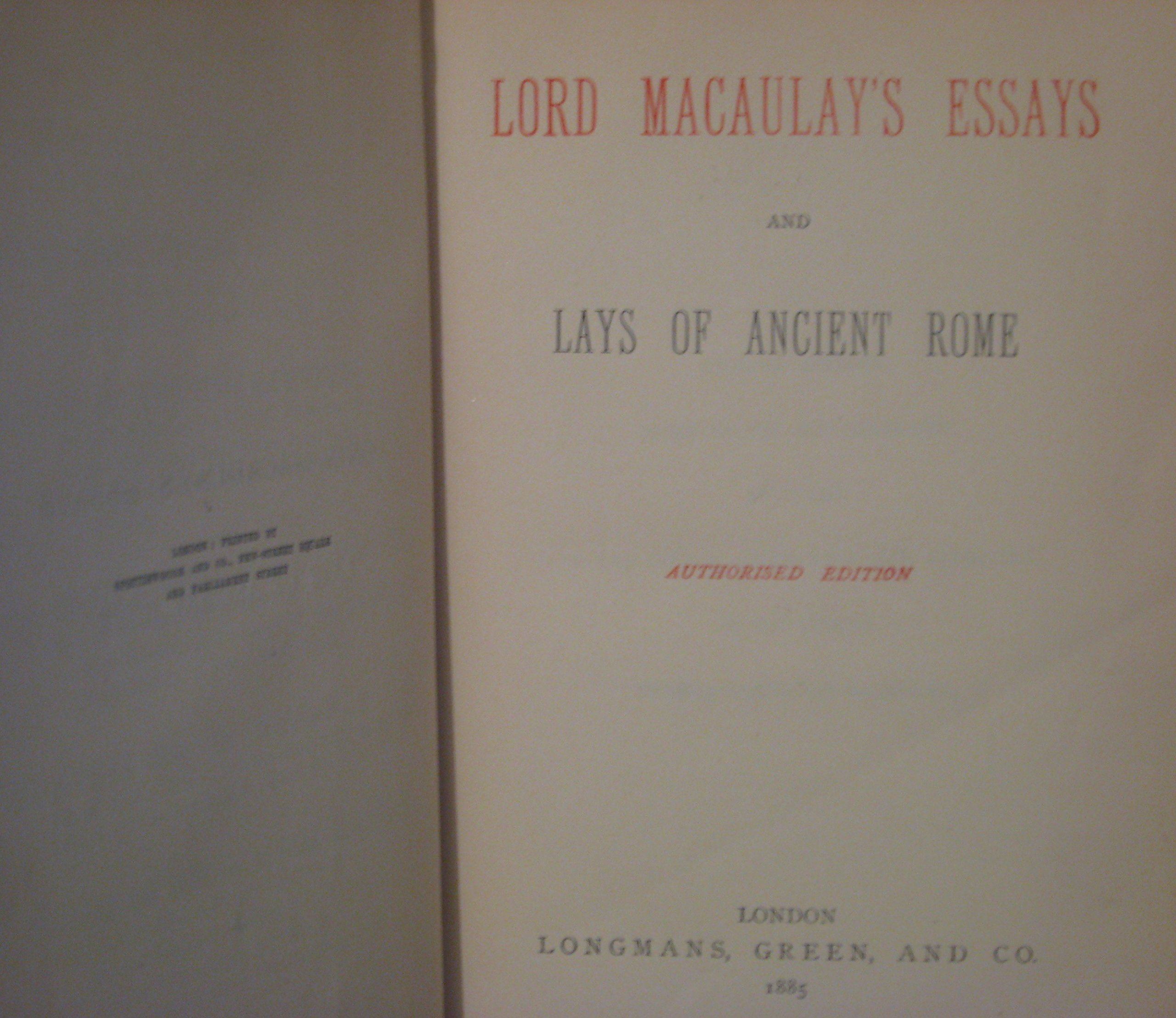 lord macaulay s essays and lays of ancient rome amazon co uk lord macaulay s essays and lays of ancient rome amazon co uk lord macaulay books