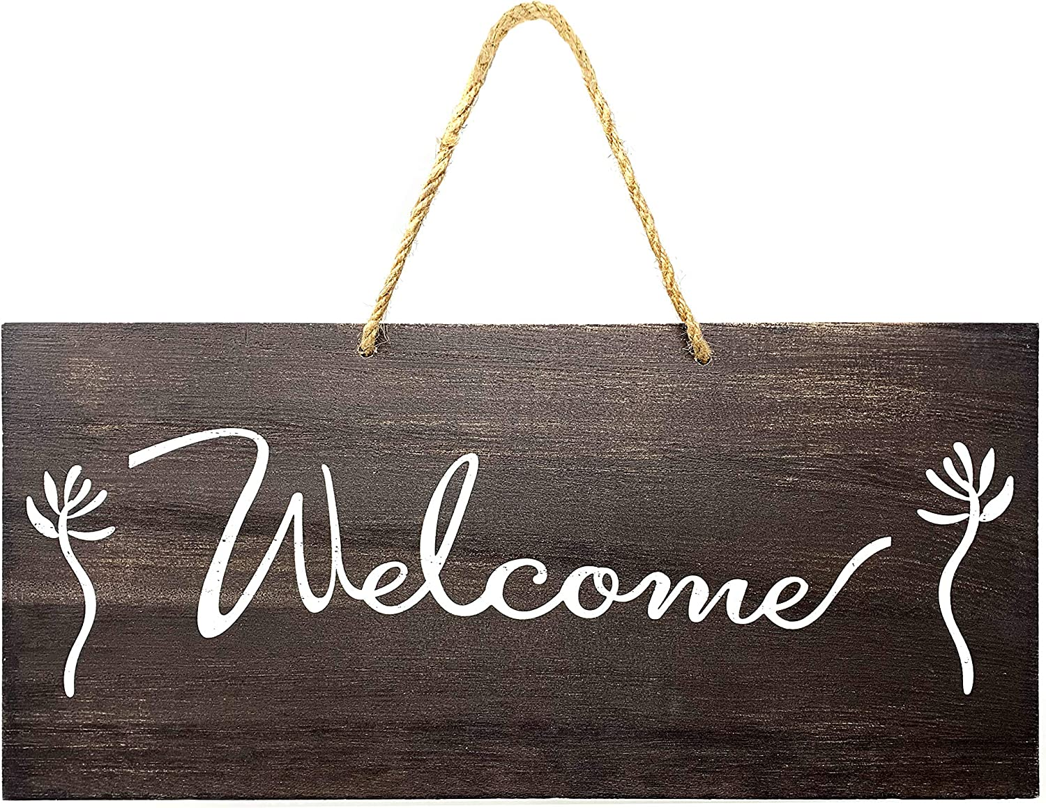 JennyGems - Welcome Sign - Rustic Farmhouse Sign - 13 x 6 Solid Wood Hanging Sign - Country Sign - Rustic Decorations, Farmhouse Wall Decor