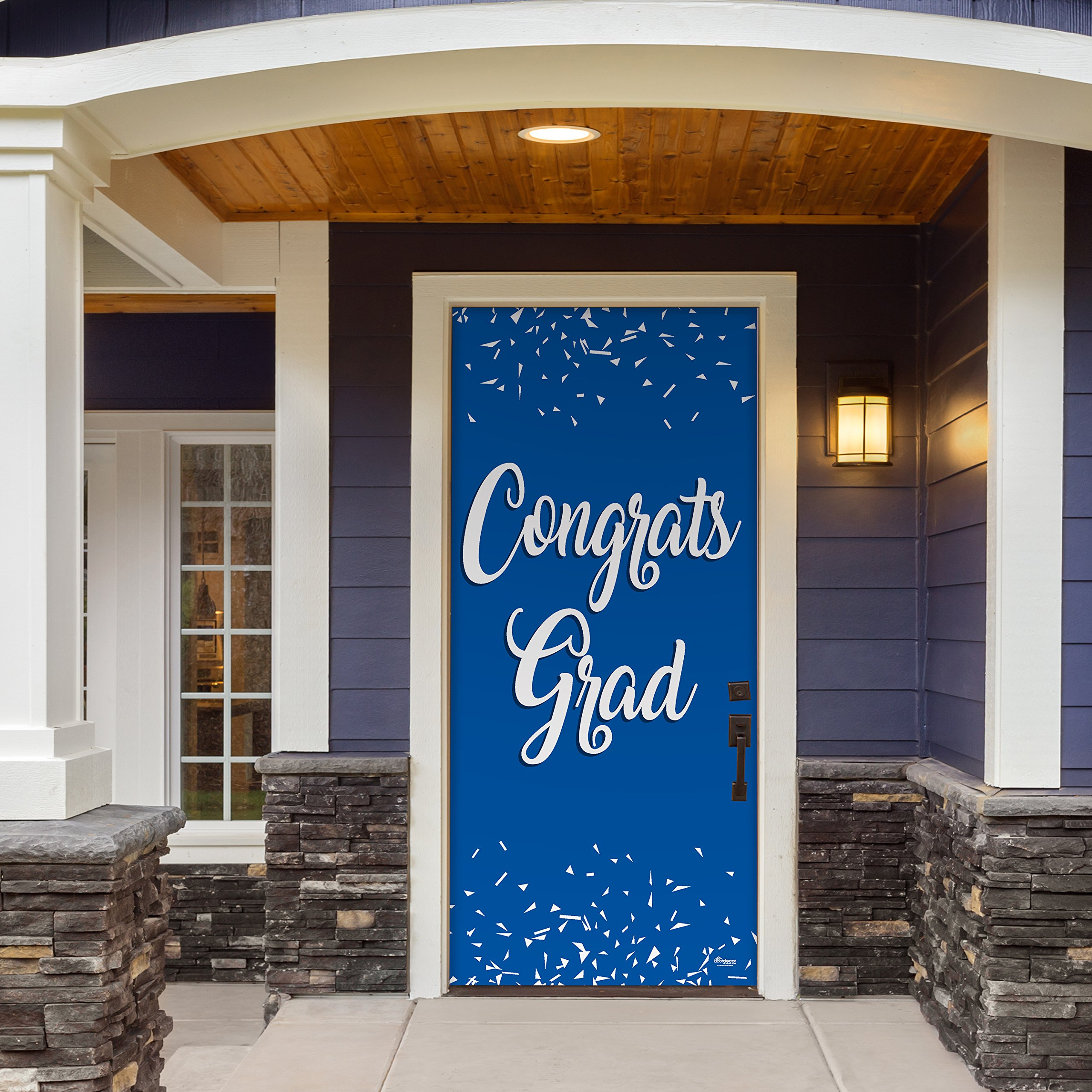 Victory Corps Congrats Grad Blue - Outdoor GRADUATION Garage Door Banner Mural Sign Décor 36'' x 80'' One Size Fits All Front Door Car Garage -The Original Holiday Front Door Banner Decor