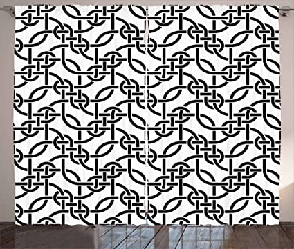 amazon lunarable contemporary curtains weaving lines pattern 90 Inch Wide Fabric lunarable contemporary curtains weaving lines pattern with curved lines abstract modern design monochrome art