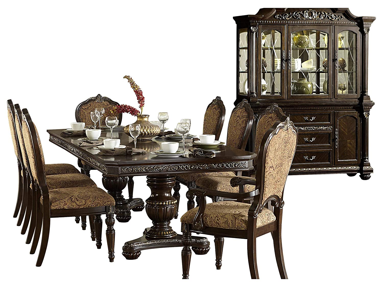 Ragosta European 10PC Dining Set Double Pedestal Table, 2 Arm, 6 Side Chair, Buffet & Hutch in Warm Cherry