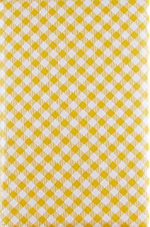 Gingham Small Check Bias With Zipper Umbrella Hole Vinyl Flannel Back  Tablecloth (Yellow, 52