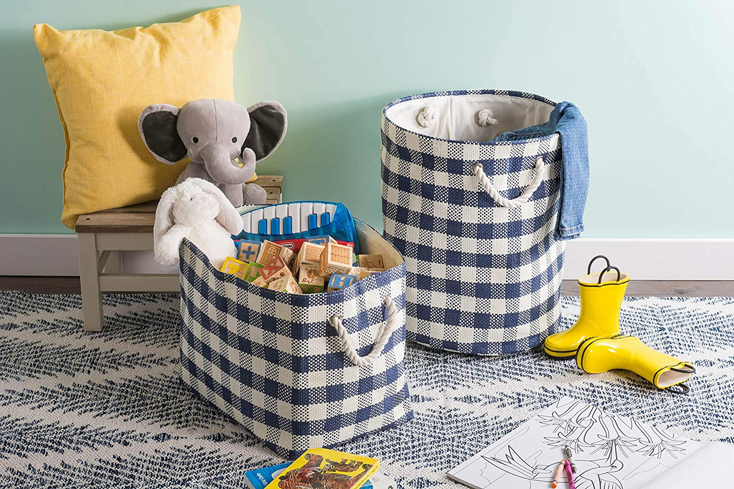 """/& Laundry/ DII Oversize Woven Paper Storage Basket or Bin Black Checkered Collapsible /& Convenient Home Organization Solution for Office Closet Toys Bedroom Medium - 15x10x12/"""""""