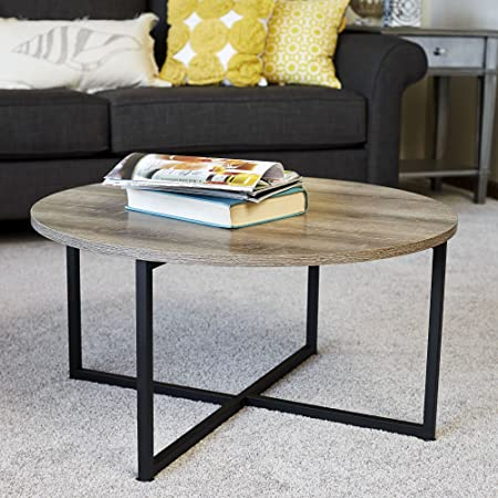 Household Essentials 8079 1 Ashwood Round Coffee Table, Distressed  Gray Brown, Black Metal Frame