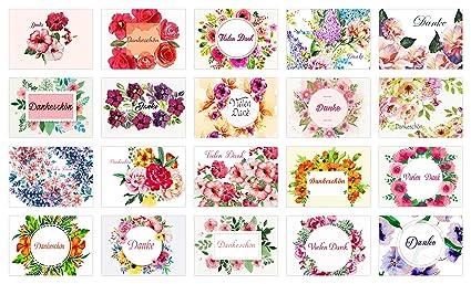 Hochwertiges Dankeskarten Set 20 Karten 20 Umschläge Für Hochzeit Einschulung Taufe Geburt Schulanfang Danke Sagen Dankeschön Karten Mit