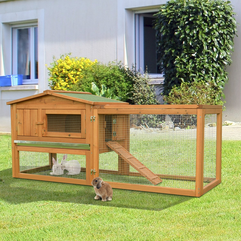PawHut 62'' Outdoor Guinea Pig Pet House/Rabbit Hutch Habitat with Run by PawHut (Image #2)