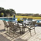 Panama Jack Outdoor Island Breeze 7-Piece Slatted Dining Group Set, Includes 6 Armchairs and 36 by 60-Inch Rectangular Aluminum Slatted Table