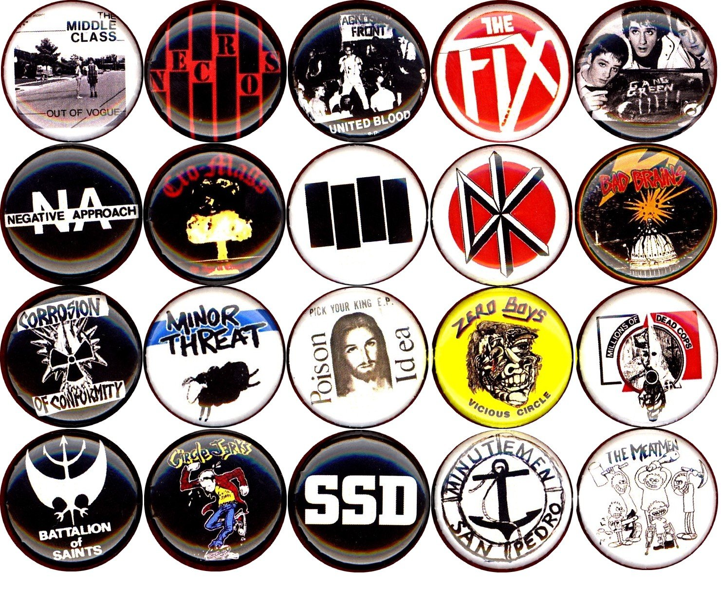 American Hardcore button set of 20 NEW 1 inch pin badge minor threat/bad brain/fix/poison idea 1''