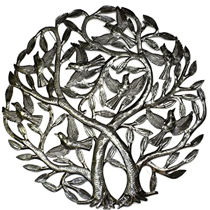 Amazon.com: Global Crafts Double Tree of Life 24 inch Metal Wall Art ...