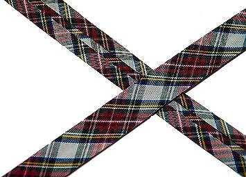 Cinta al bies leñador, diseño escocés, color blanco/rojo/verde ...