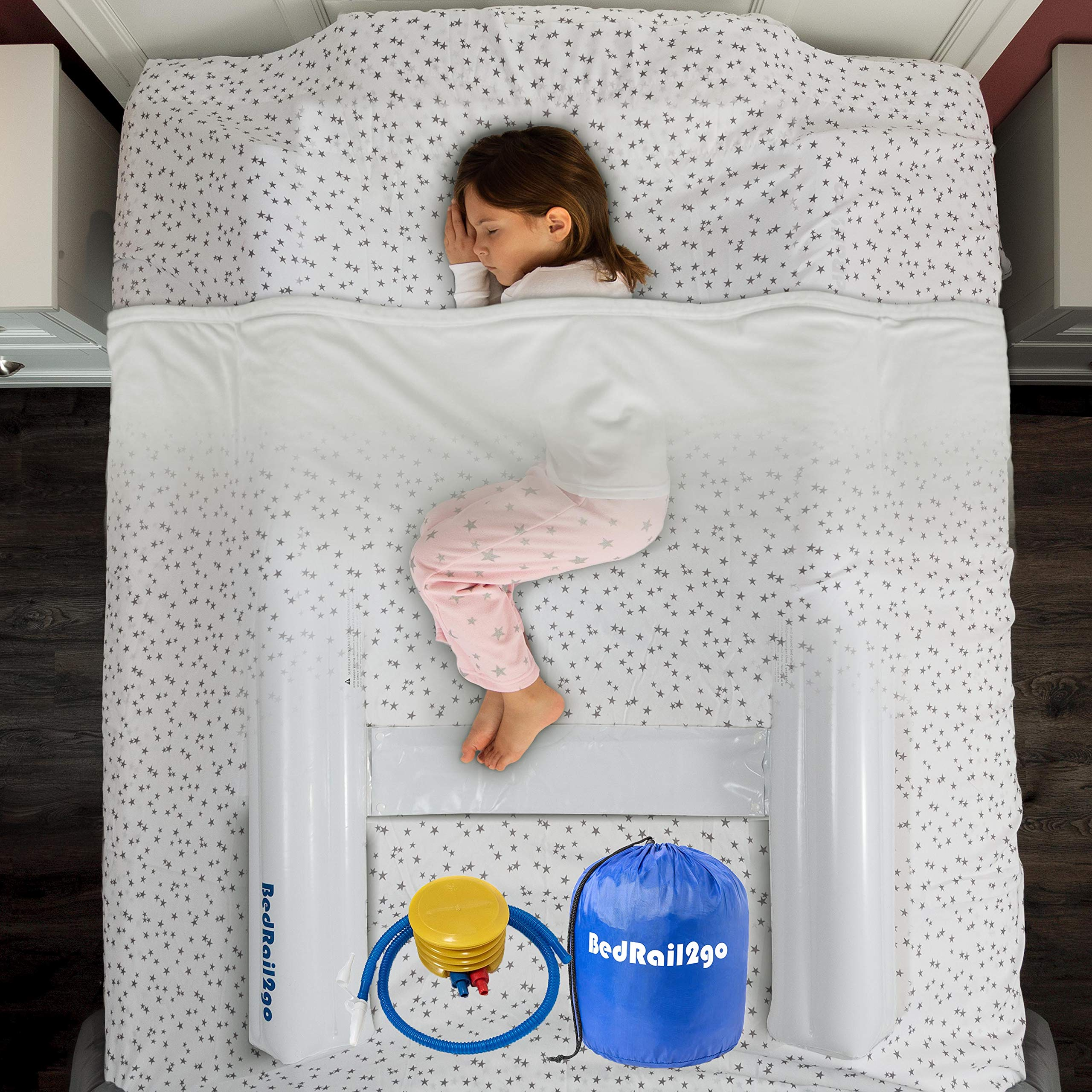 [2 Pack] Inflatable Toddler Bed Bumpers with Safety - Bed Rails Guard for Kids, Portable Baby beds Safety Side Pillow - Water Proof - White