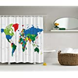 World Map Shower Curtain by Ambesonne, Geologist Gifts Educational Geographical Earth Journeys Voyager Novelty Modern Home Designer Bath Accessories Fabric Shower Curtain, Green Blue Red White