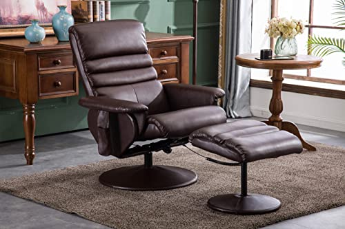 Mcombo Electric Faux Leather Recliner Chair and Ottoman Swivel Gaming Massage Chair