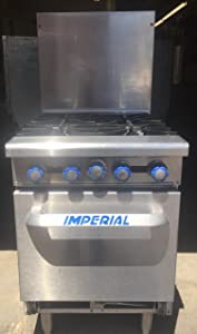 """Imperial Commercial Restaurant Range 24"""" With 4 Burners/Standard Oven Natural Gas Model Ir-4"""