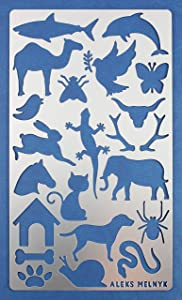 Aleks Melnyk #8 Metal Journal Stencil, 1 PCS/Small Animals, Cat, Dog Bone, Lizard, Butterfly, Dolphin, Elephant, Spider, Antler/Template for Wood Burning, Engraving/Crafting, Art