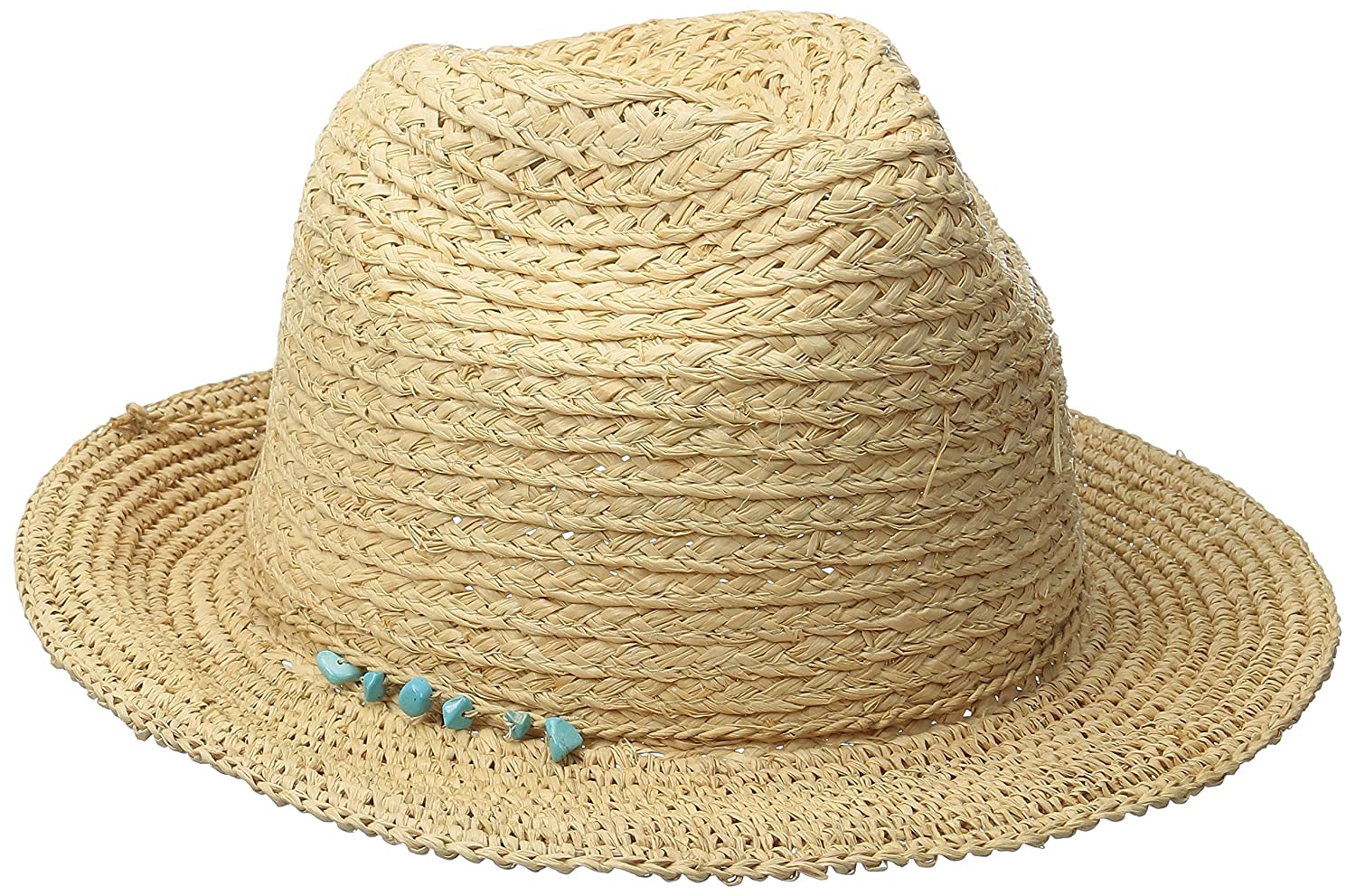 a6e981228ad558 San Diego Hat Company Women's Fedora Hat with Crochet Brim and Turquoise  Trim, Natural, One Size at Amazon Women's Clothing store: