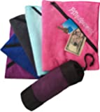 Gym Towel with ZIPPER POCKET and Carry Case Towel for Sports Fitness Workout and Travel - Compact Super Absorbent Fast Drying Luxury Microfiber Towel 20x35 Inches