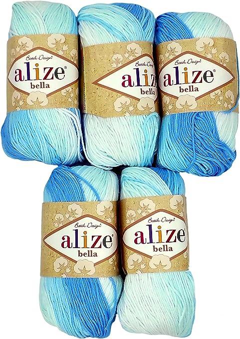 5 x 50 G algodón, luz azul/blanco color degradado nº 2130, 250 g de lana para tejer hilo 100% algodón: Amazon.es: Hogar