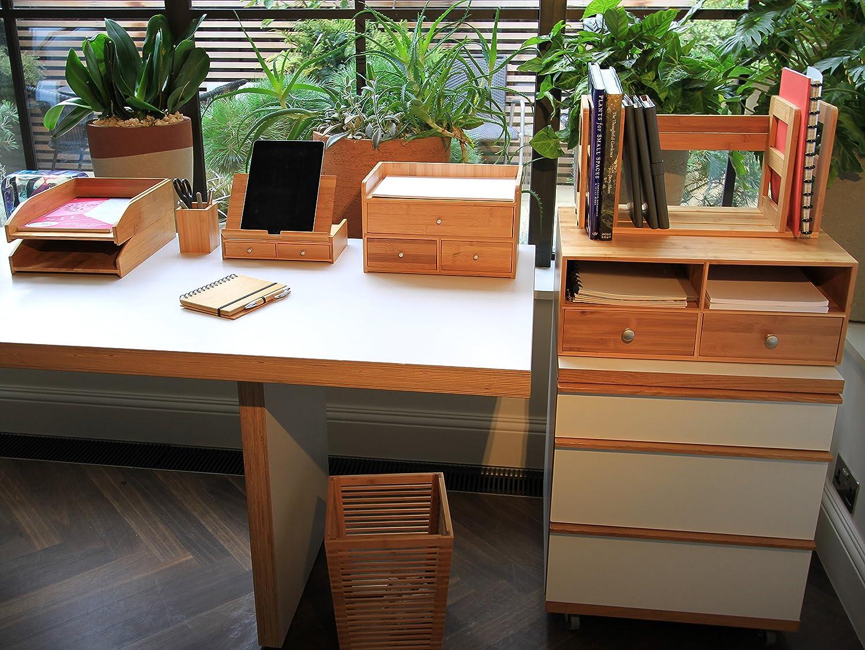 Bamboo Desk Organiser Mobile Phone Stand Desktop Holder