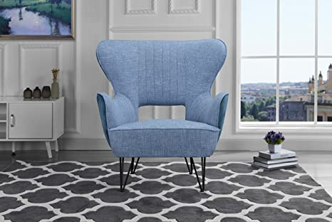 Terrific Mid Century Modern Two Tone Linen Fabric Accent Armchair With Shelter Style Living Room Chair Blue Blue Caraccident5 Cool Chair Designs And Ideas Caraccident5Info
