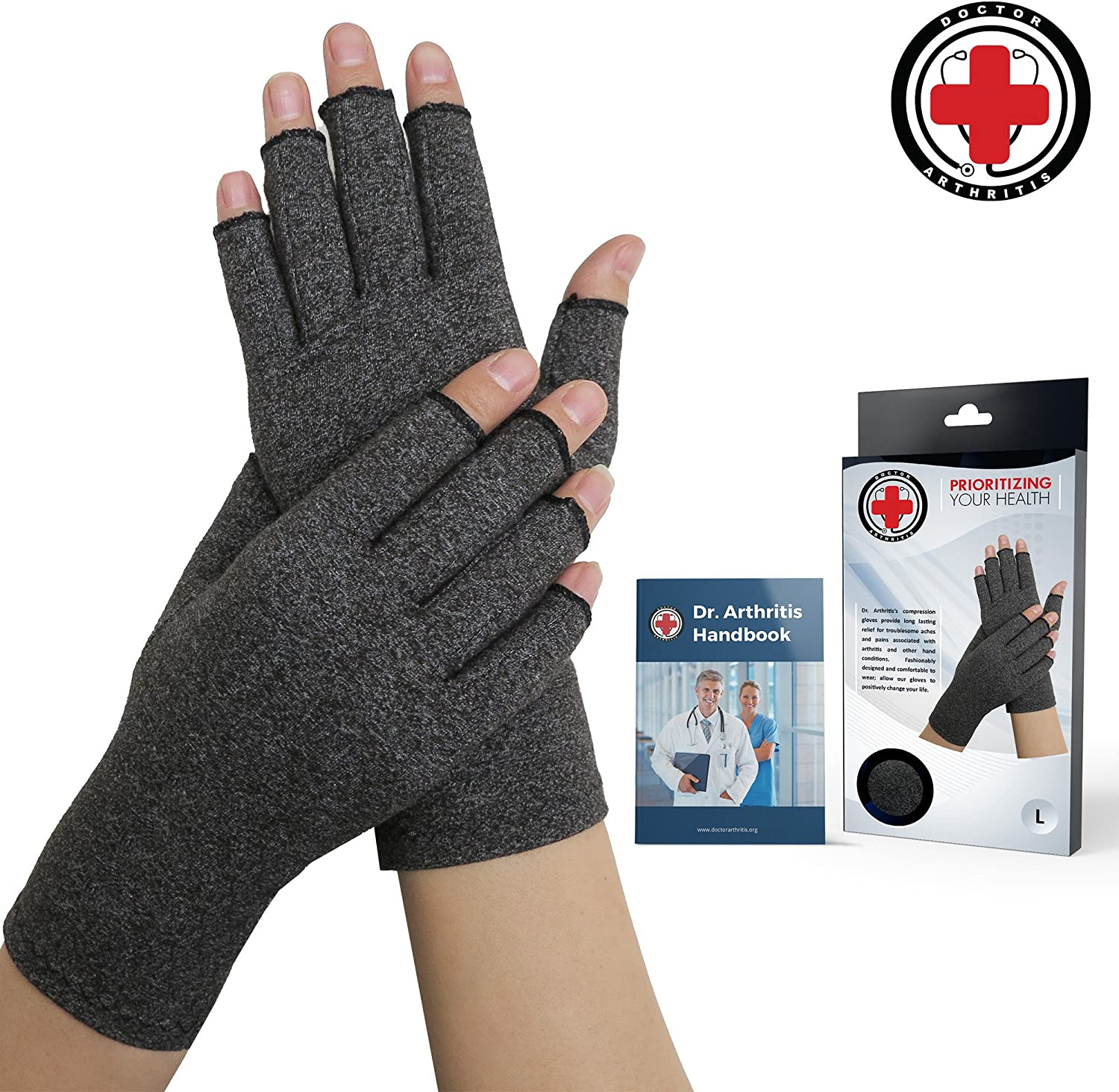 Doctor Developed Compression Arthritis Gloves - Doctor Written Handbook Included: Relieve Arthritis Symptoms, Raynauds Disease & Carpal Tunnel (L)