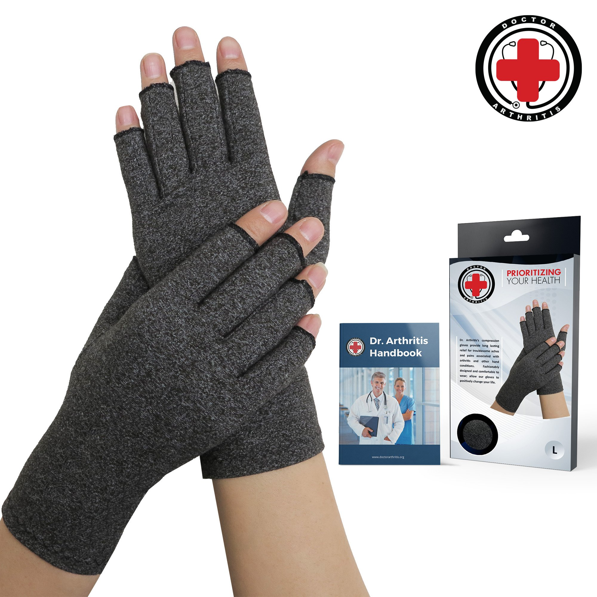 Doctor Developed Compression Arthritis Gloves - Doctor Written Handbook Included: Relieve Arthritis Symptoms, Raynauds Disease & Carpal Tunnel (M) by Dr. Arthritis