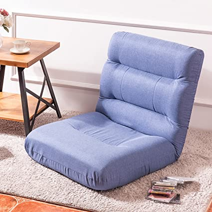 9dfb4a9255f4 Merax Fabric Folding Sofa Chair Floor Chaise Lounge Gaming Chair (Light  Blue)