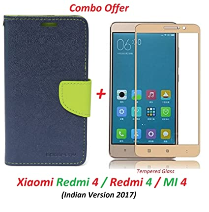 more photos a0347 4b0ce Mi Redmi 4 / xiaomi redmi 4 / Redmi 4 (COMBO OFFER) Flip Cover Case Wallet  Style ( Blue,Green) + 2.5D curved 3D Edge to Edge Tempered Glass Mobile ...