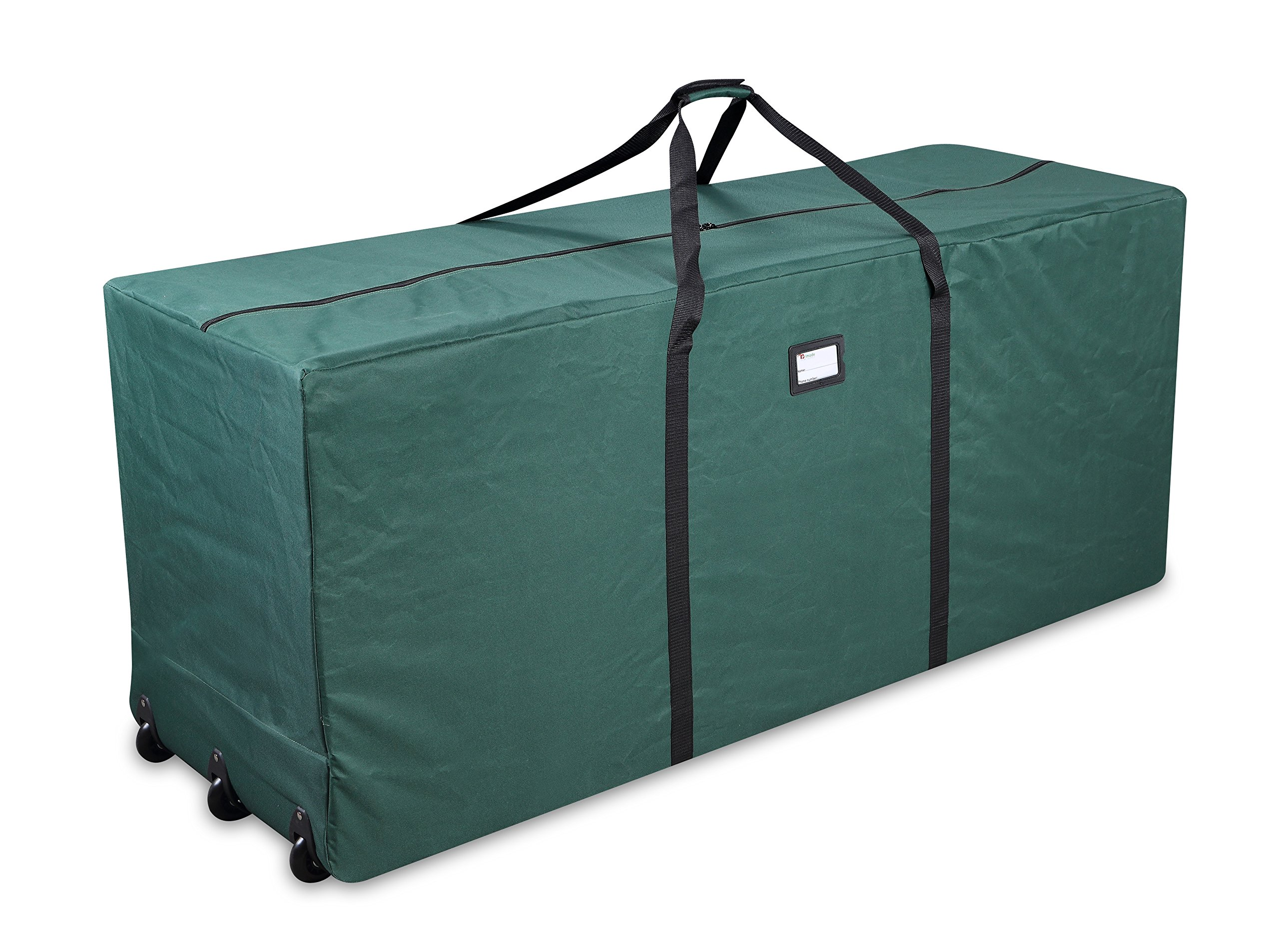 Primode Holiday Rolling Tree Storage Bag, Extra Large Heavy Duty Storage Container, 25'' Height X 20'' Wide X 60'' Long With Wheels And Handles (Green)