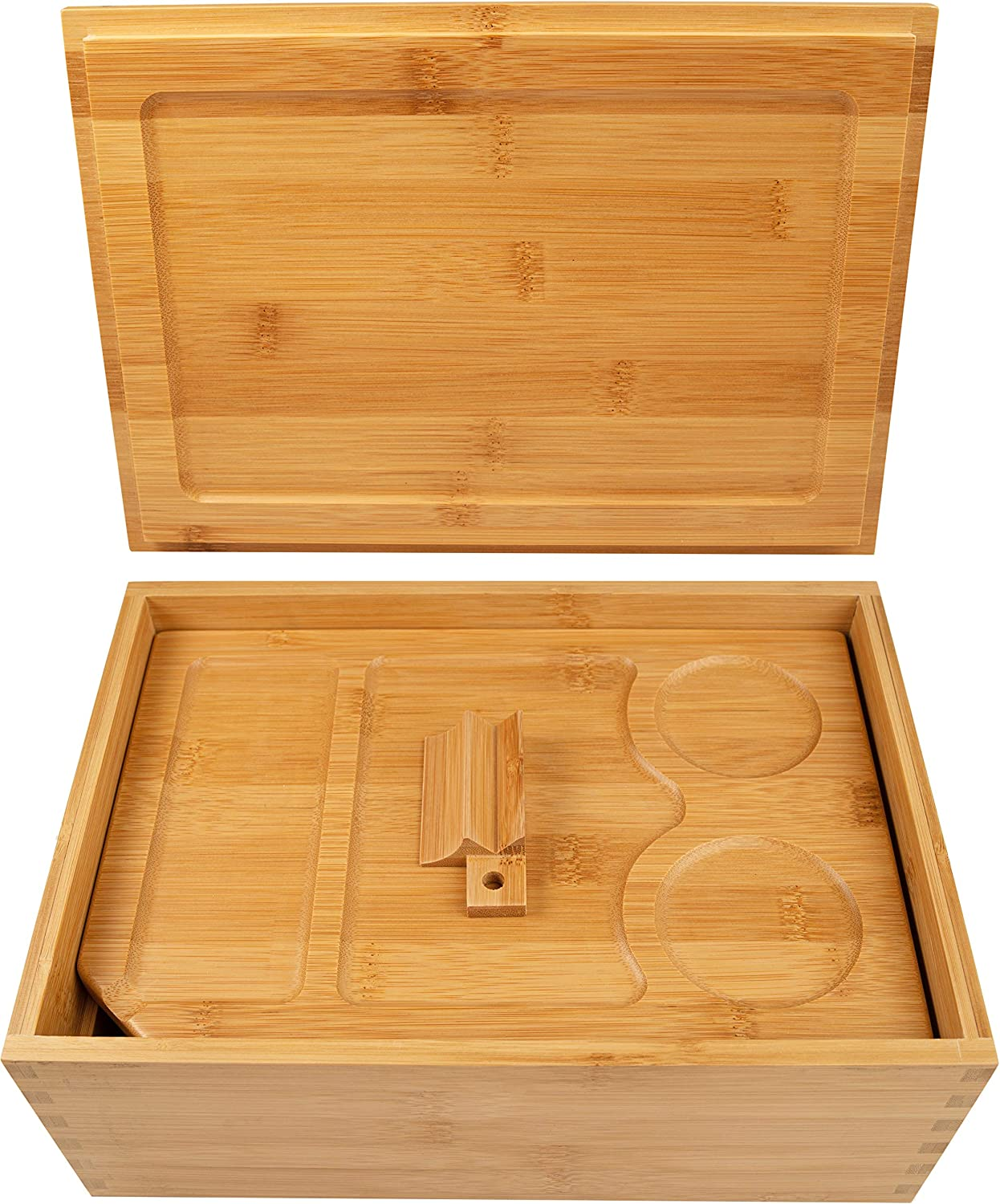 Wooden Stash Box with Rolling Tray Large Stash Box and Rolling Tray Stash Boxes Stash Box with Rolling tray lid Natural