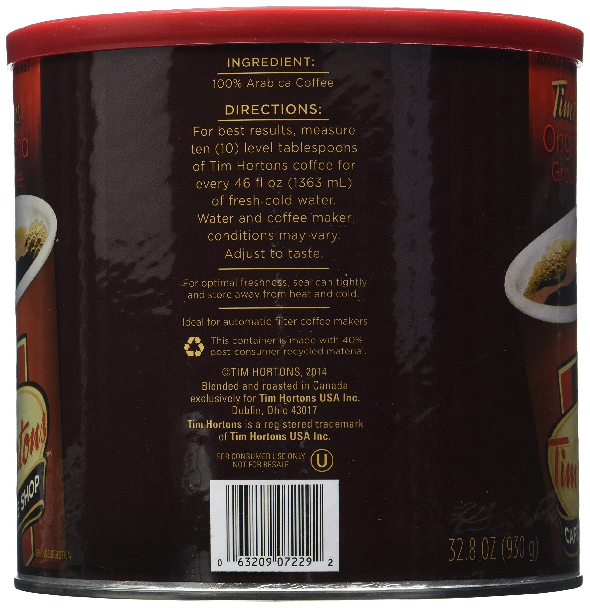 Tim Hortons HBRKMMCX 100% Arabica Medium Roast Original Blend Ground Coffee, 32.8 Ounce, Pack of 2 by Tim Hortons (Image #4)